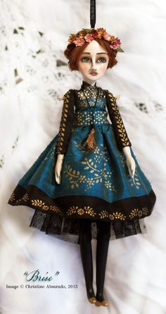 "Doll Ornament ""Brise""~Image © Christine Alvarado, 2013 (hand stenciled dress)"