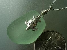 Sterling Silver Turtle Charm Sea Glass Necklace by HLSEAGLASS