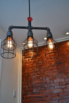 Hanging Triple Industrial Pipe Light [ Edison Bulb Included ] (on Etsy) - To hang over staircase West Ninth Vintage by patricé Lampe Industrial, Industrial Style Lighting, Pipe Lighting, Industrial Light Fixtures, Industrial Pendant Lights, Vintage Lighting, Cool Lighting, Kitchen Lighting, Vintage Industrial