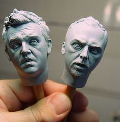 "Amazing sculptures of Simon Pegg and Nick Frost as Shaun and Ed from ""Shaun of the Dead"""