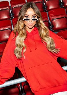 69b2400cf2 Missyempire - Keira Red Oversized Hoody Hoody, Trainers, Crew Neck, Track,  Leather