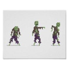 Zombie 8-bit Pixel Art Wide Poster