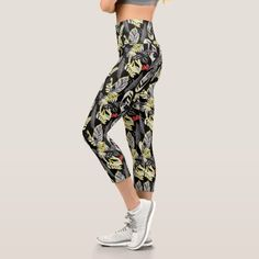 Yellow Tropical Leaves on Black Capri Leggings   yoga quote, yin yoga, benefits of yoga #yogainspiration #bienestar #buenosaires, 4th of july party Yoga Facts, Face Yoga Method, Yoga Tattoos, Yoga At Home, How To Start Yoga, Yin Yoga, Yoga Benefits, Yoga Wear, Tropical Leaves