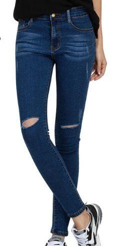 Holes Pencil Elastic Jeans