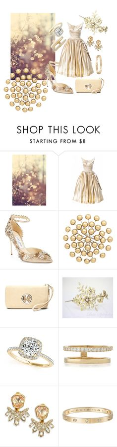 """Wedding Look"" by cpearlz on Polyvore featuring Jimmy Choo, Universal Lighting and Decor, MKF Collection, Allurez, Lana, Alexis Bittar and Cartier"