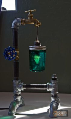 "The ""Liam"". Industrial / Steampunk inspired table lamp by MechanicalDragon"