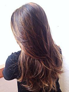 Hair foils+ haircut   By Leonardo Lima   Caramel haircolor Hairstyle 2014