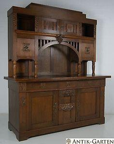 Großer Buffet Schrank Jugendstil Eiche Massiv Kredenz Wohnzimmerschrank In  Antiquitäten U0026 Kunst, Mobiliar U0026 Interieur, Schränke