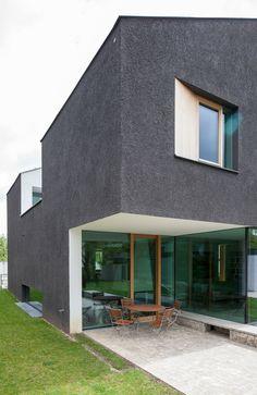 Unterlandstättner, Einfamilienhaus, Krailling, Fassade, Putz, Subraktion, Skulptur, Außenansicht