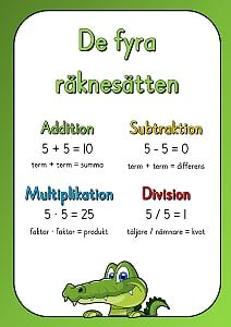 De fyra räknesätten.pdf – OneDrive Teaching Tools, Teaching Math, Learn Swedish, Swedish Language, Preschool Math, Classroom Inspiration, Math For Kids, Math Lessons, Mathematics