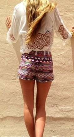 shorts shirt tribal pattern aztec summer white lace blouse colorful rainbow