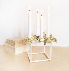 White birch Candle holder  four candles  geometric  brass
