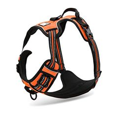 OCSOSO Adjustable Fluorescent Pet Dogs Vest Harness With Padded 3M Safety Reflective Night Stripes Pet Halt Harness for LargeMediumSmall Dogs M Orange * Check this awesome product by going to the link at the image.