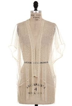 Prarie Dreams Lace Fringe Cardigan in Cream | Sincerely Sweet Boutique