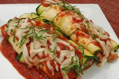 "Stuffed Zucchini ""Manicotti.  Great taste without all the calories and carbs!"
