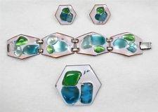 Vtg Kay Denning Modernist Enamel Fused Glass Hexagon Bracelet Brooch Earring Set