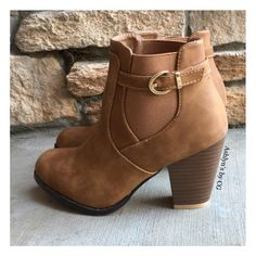 """""""Style and Flare"""" Always Faithful Buckle Strap Tan Heel Bootie Boots from Ashlyn's by CG. Saved to for her. #strap #tan #heel #boots #hee."""