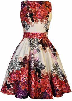 Lady V Abby Rose Collage Kleid Rot - Kleider Kleider Kaufen, Schöne Kleider,  Über 2b36233206