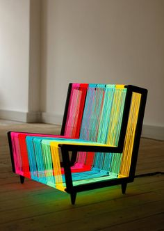 relax, stand out + cradle your butt in neon - 'disco chair' by kiwi - made of electroluminescent wire