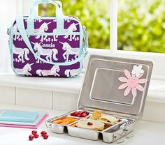 Mackenzie Plum Unicorn All-in-One Lunch Bag. The perfect lunchbox for any little girl! Cute Lunch Boxes, Lunch Box Notes, Planet Box, Fun Snacks For Kids, Too Cool For School, Baby Furniture, Baby Registry, Pottery Barn Kids, Baby Food Recipes