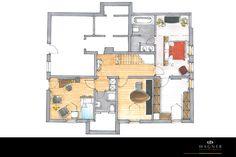Grundriss 1.OG Modern, Floor Plans, Neuschwanstein Castle, Living Dining Rooms, New Construction, Floor Layout, Interior, Homes, Trendy Tree