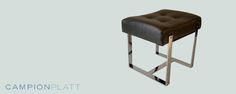 *Master Bench* A saddle shaped leather stool on a boxy mirror finish frame