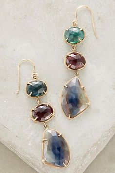Lulu Sapphire and Tourmaline Memory Earrings in 14k gold #anthrofave
