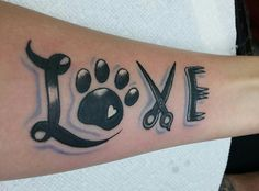 Dog groomer tattoo, paw prints, love, scissor
