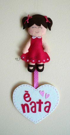 Fiocchi nascita : Fiocco nascita bambola feltro telaio