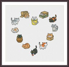 Neko Atsume Heart funny cross stitch pattern by CrossStitchForYou