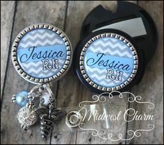 Blue gray/white chevron badge reel and stethoscope clip set..nurse gift..doctor..RN..Lpn..nursing instructor