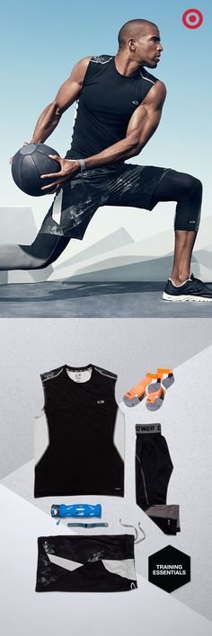 Build your strength and your stretch with these essentials: The C9 Champion Powercore Fitted T-Shirt, Premium Training Shorts, Mid Ankle Socks and Powercore Compression 3/4 Length Tights. Round it out with a Fitbit Charge, Ignite Medicine Ball and a Zulu Glass Water Bottle.