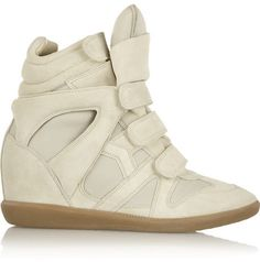 Isabel Marant Burt leather and suede concealed wedge sneakers on shopstyle.com