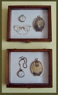DIY Display Case Ideas to Keep your Beloved Stuff! Do w mom HS pic and good housekeeping pin (put ar. : DIY Display Case Ideas to Keep your Beloved Stuff! Do w mom HS pic and good housekeeping pin (put ar. Shadow Box Memory, Wood Shadow Box, Cadre Diy, Vintage Display, Wood Display, Vintage Crafts, Photo Craft, Photo Displays, Custom Wood