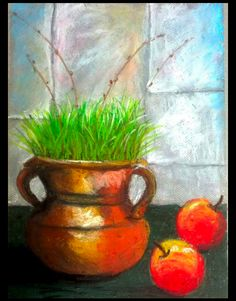 www.zibagallery.com  Happy Nowrouz by our 11yrs old artist. Planter Pots, Students, Happy, Artist, Painting, Artists, Painting Art, Ser Feliz, Paintings
