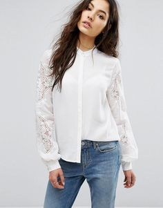 Vila Broderie Detail Shirt