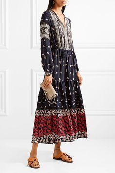 SEA - Eloise Crochet-trimmed Printed Silk Crepe De Chine Maxi Dress - Navy