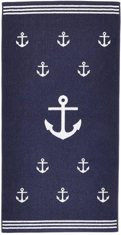 Arus Jacquard Woven Turkish Terry Cotton Beach Towel, Anchor, Marine, 28x55