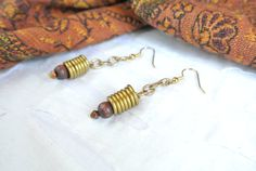 Gold Dangle Earrings with Wire Wrapping and by simplepleasurestx, $9.00