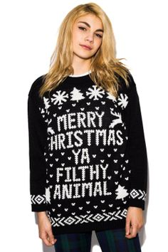 bf6c1e15816cd Cully  Filthy Animal  Christmas Jumper in Black £16.99 All Things Christmas