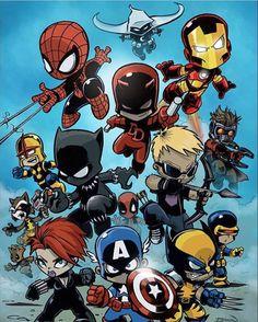 Resplendent Cartoon Drawing Tips Ideas Baby Marvel, Chibi Marvel, Marvel Kids, Marvel Art, Marvel Heroes, Drawing Cartoon Characters, Chibi Characters, Character Drawing, Cartoon Drawings