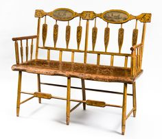 Paint-Decorated Windsor Double Settee, Baltimore, Maryland, circa 1815