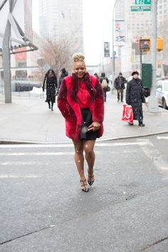 New York Fall 2015 Fashion Week Day 1 Wearing a Haute Hippie Fur, Muehleder Net Skirt, and Valentino Rockstud Pumps claire sulmers fashion bomb daily