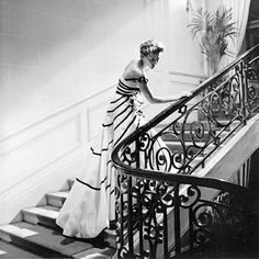 Model wears a gown by Christian Dior in a photo by Willy Maywald, Maison Dior, Paris, 1950
