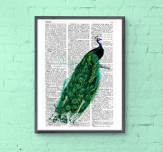 Peacock art dictionary illustration book print peacock wall poster print , green wall decor, gift her, Wall hanging, peacock feather BPAN148