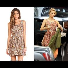 """SOMEDAYS LOVIN ASOS dream boy tie back sundress XS NEW AND STUNNING SEXY FLORAL OPEN TIE BACK DRESS! Pretty floral printed of pinks/orange/black/white/taupe brown. It was worn by a famous celebrity of glee. I think her name is DIANNA AGRON. It is super sexy in the back and sweet in the front, brand new with tags no defects. Wear it in the summer with sandals and wear it in the winter with heavy tights and tall leather boots and a cardigan. Bust across is about 14"""" and length is approx 34""""…"""