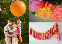 The complete party decoration kit - fiesta themed party  - 2 giant 36' balloons with tassels + 10 pom poms + tassel garland on Etsy, 460.71 ₪