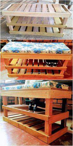 Shoe Rack With Seat, Shoe Rack Bench, Diy Shoe Rack, Wooden Pallet Table, Wooden Pallets, Diy Pallet Furniture, Furniture Layout, Wooden Shoe Racks, Pallet Storage