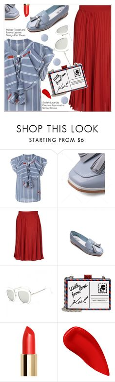 """""""Preppy Tassel"""" by paculi ❤ liked on Polyvore featuring Gucci, Karl Lagerfeld, Lipstick Queen and Butter London"""