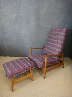Milo Baughman adjustable recliner with ottoman.